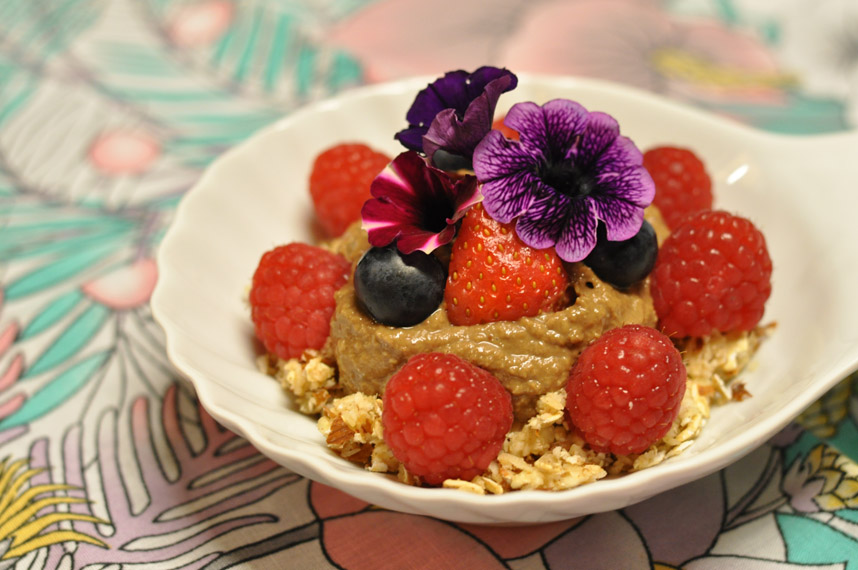 Carob Pudding with Berries and Flowers
